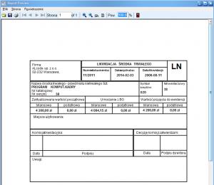 Program środki trwałe - Przykładowy podgląd wydruku likwidacji środka trwałego