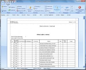 Program środki trwałe - Podgląd wydruku - arkusz spisu z natury