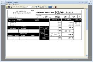 Bank - Podgląd przykładowego raportu bankowego przed wydrukiem