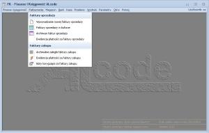 Fakturowanie - menu (gdy włączony jest moduł FK, dochodzą dodatkowe opcje)