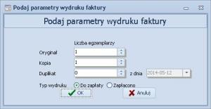 Fakturowanie - Parametry wydruku faktury