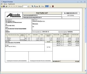 Fakturowanie - Podgląd wydruku przykładowej faktury VAT