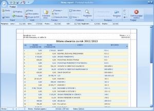 Program księgowy - Podgląd wydruku przykładowego Bilansu Otwarcia