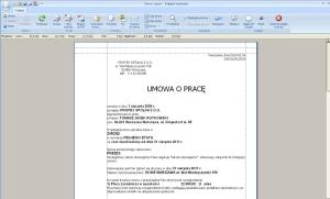 Program kadrowo płacowy - Przykładowy wydruk umowy o pracę