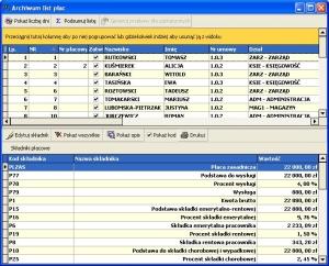 Program kadrowo płacowy - Lista płac